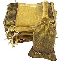 KRIWIN Unisex Silk Gold Colour Tissue Drawstring Closure Potli/Bag (18 X 12 cm) Pack of 50 Pieces