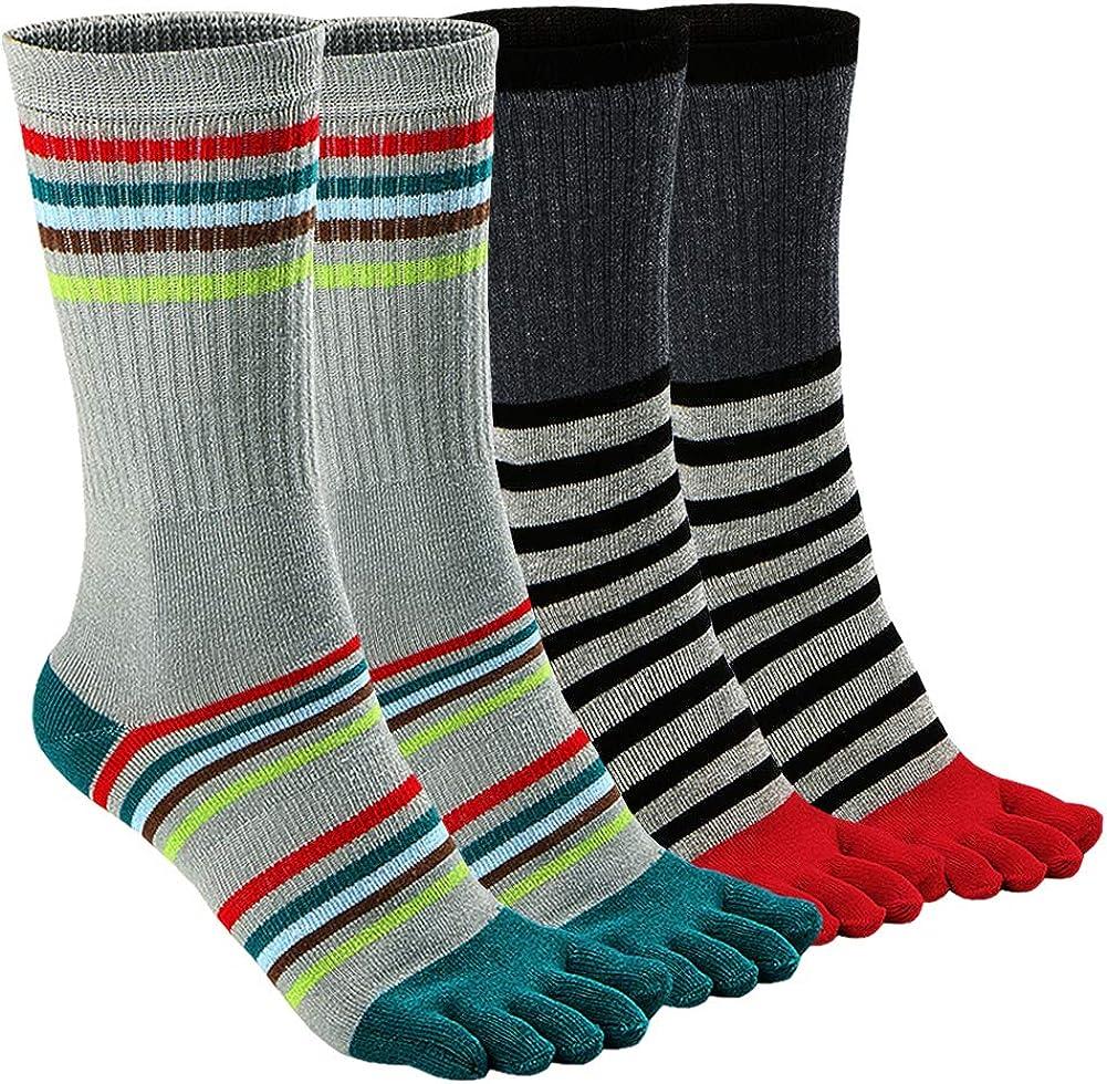 Mens Toe Socks Cotton Athletic Running Ankle Five Finger Crew Socks