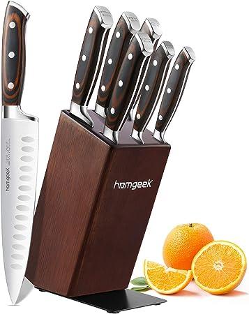 homgeek Cuchillo de Cocina, 7 Piezas Juego Cuchillos Cocina Profesionales, Hecho de Acero Inoxidable 1.4116 Alemán, con Bloque de Madera