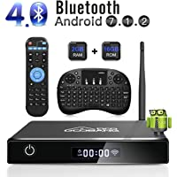 Android TV Box, GooBang Doo XB-III Smart TV Box Android 7.1 Quad Core 2GB RAM/16GB ROM Admite 4K 3D 2.4GHz WiFi Bluetooth con Mini Teclado Inalámbrico