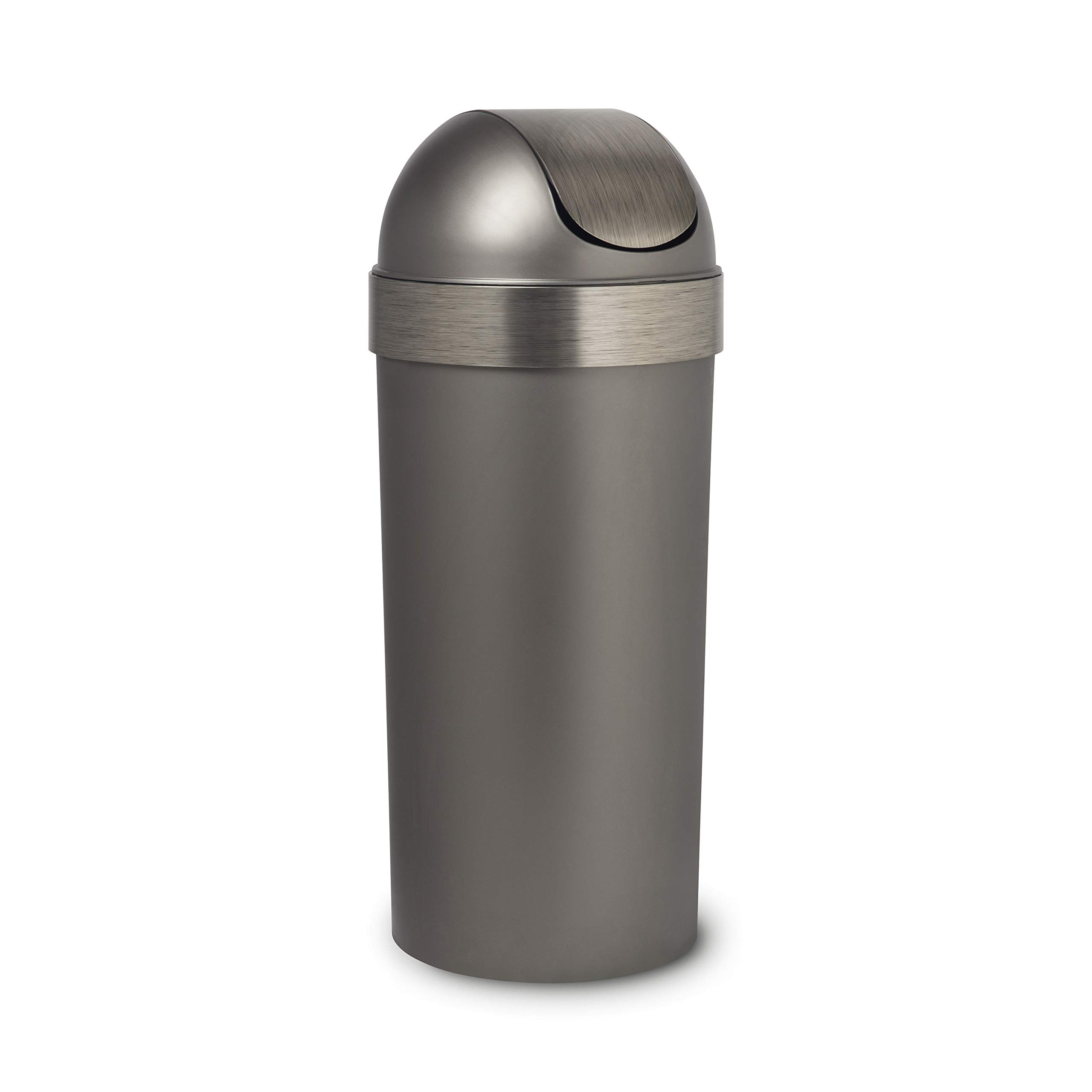 Umbra Venti 16-Gallon Swing Top Kitchen Trash Large, 35-inch Tall Garbage Can for Indoor, Outdoor or Commercial Use, Pewter by Umbra