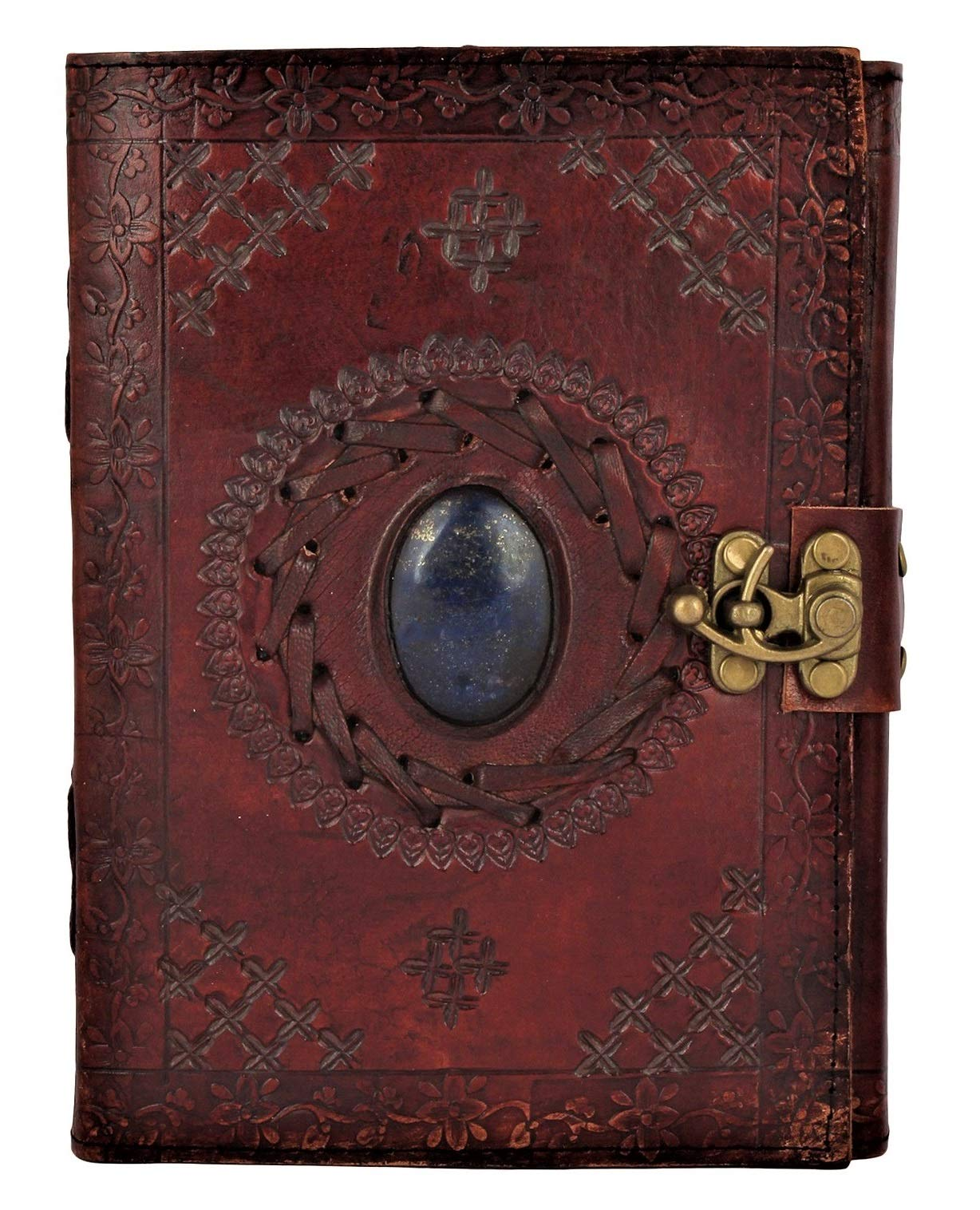 Leather Bound Journal for Men Women with Semi-Precious Stone & Buckle Closure - Book of Shadow Handmade Leather Travel Writing Notebook Diary Gift for Him Her