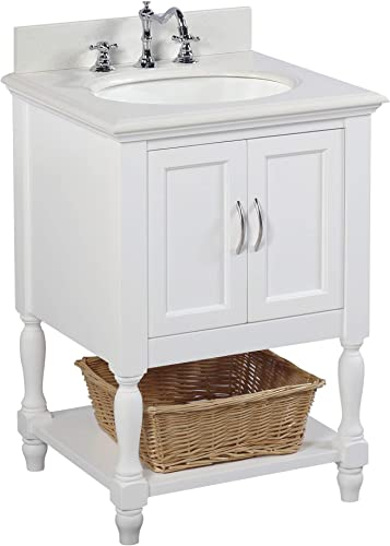 Beverly 24-inch Bathroom Vanity Quartz White Includes White Cabinet with Stunning Quartz Countertop and White Ceramic Sink