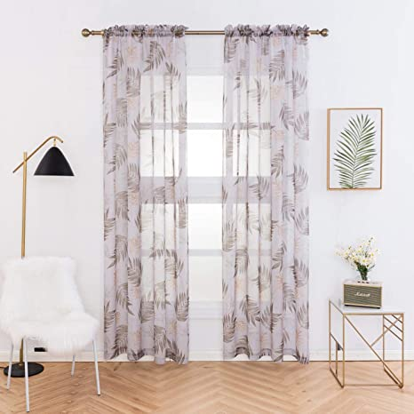 Anjee Sheer Curtains with Tropical Plants Printed, Bedroom Window Drapes  Rod Pocket Sheers Curtains 84 inch, 2 Panels, Leaf Pattern