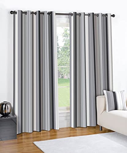 Fusion Pair Of Wentworth Striped Solid Lined Window Curtains Drapes With Eyelet Grommet Top 90 Wide x 54 Drop Gray