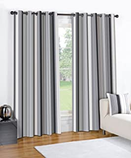 STRIPED BLACK CREAM GREY PAIR LINED EYELET RING TOP CURTAINS 90 Wide X