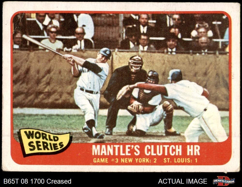 1965 Topps # 134 1964 World Series - Game #3 - Mantle's Clutch HR Mickey Mantle / Barney Schultz / Tim McCarver St. Louis / New York Cardinals / Yankees (Baseball Card) Dean's Cards 3.5 - VG+ Cardinals / Yankees 71T7QUmG2EL
