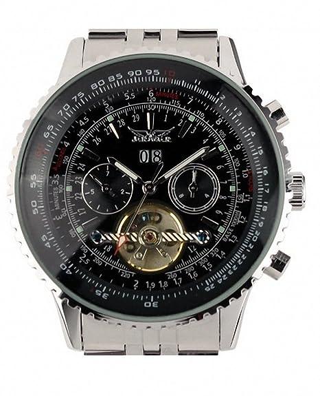 Reloj para hombre de los hombres de la ESS color negro estilo de Tourbillon mecánico automático reloj de aviador de la fecha WM141: Amazon.es: Relojes