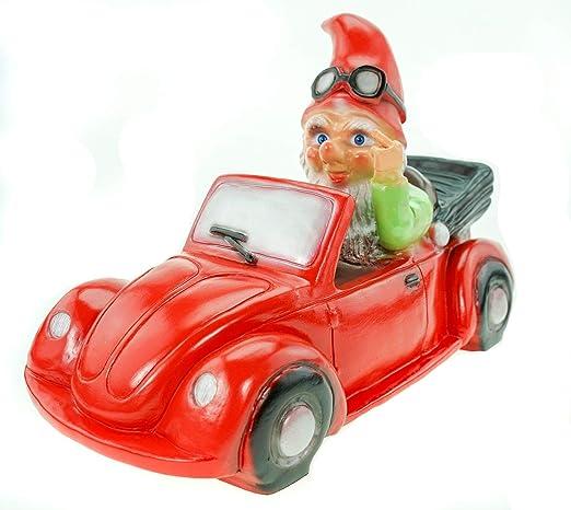 Enanito de jardín (36 cm, PVC, figura en el coche), color rojo: Amazon.es: Hogar