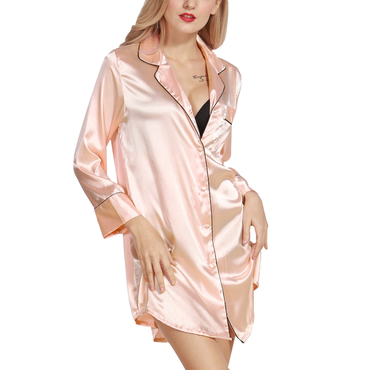 Amazon.com: Luxspire Womens Sexy Silk-Like Long Sleeve Nighty Pajamas Solid Color Nightshirts Home Wear, Pink, XL: Sports & Outdoors