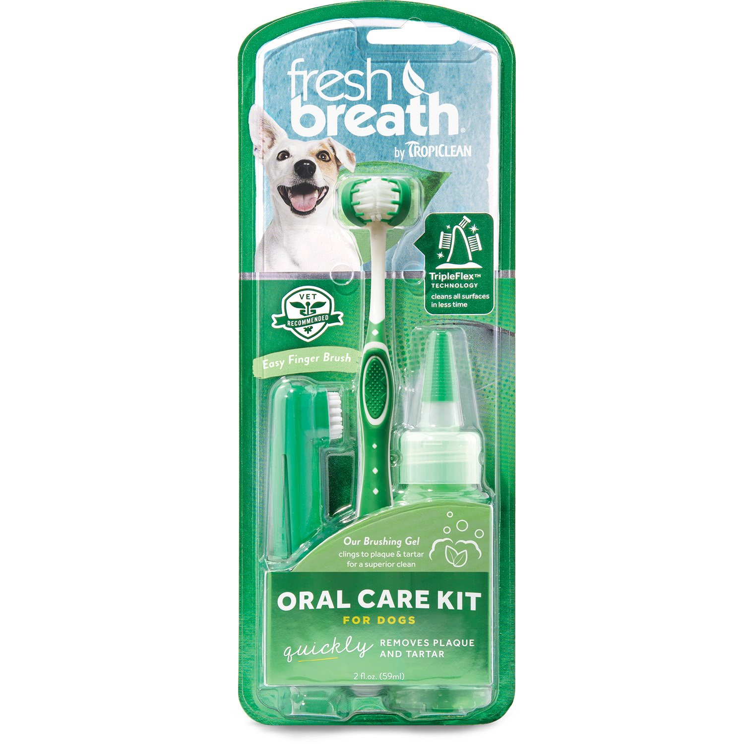 Tropiclean Fresh Breath Dental Care Kit For Large Dogs, 2 oz. Gel and Triple-Flex Toothbrush Included