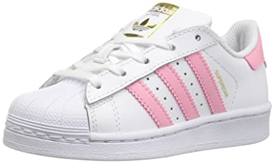 351ba7c553a36 Adidas Superstar J Basket Mode Enfants - White/Clear Light Pink  Metallic/Gold 26