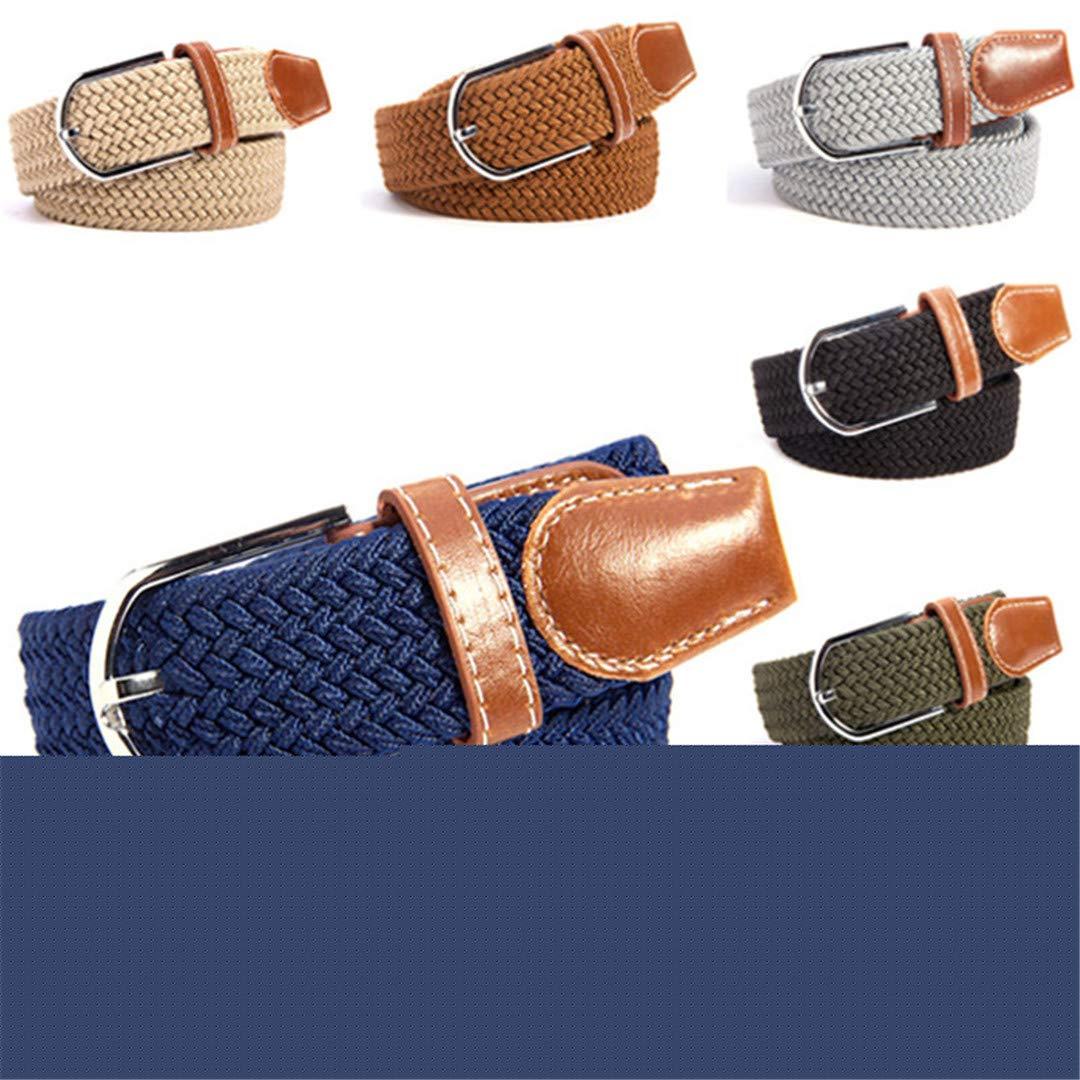 JUIHUGN Unisex Canvas Woven Leather Pin Buckle Elastic Waist Belt Men Women Waistb No 20