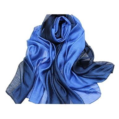 4bf189621f2 ACMEDE - Echarpe Foulard Long Doux Leger Anti uv Coloré En Soie Coton Cou  Wrap Chale