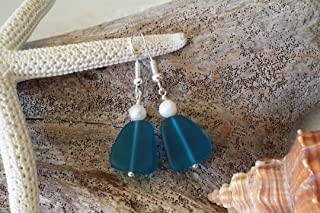 product image for Handmade in Hawaii, teal blue sea glass earrings, Freshwater pearls, gift box, beach glass earrings, sea glass jewelry, gift for her, summer beach jewelry.