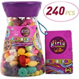 Acekid Pop Beads 240pcs Snap Beads for Toddler Kid Girls DIY Jewelry Kit Ideal for Making Necklace, Bracelet and Ring