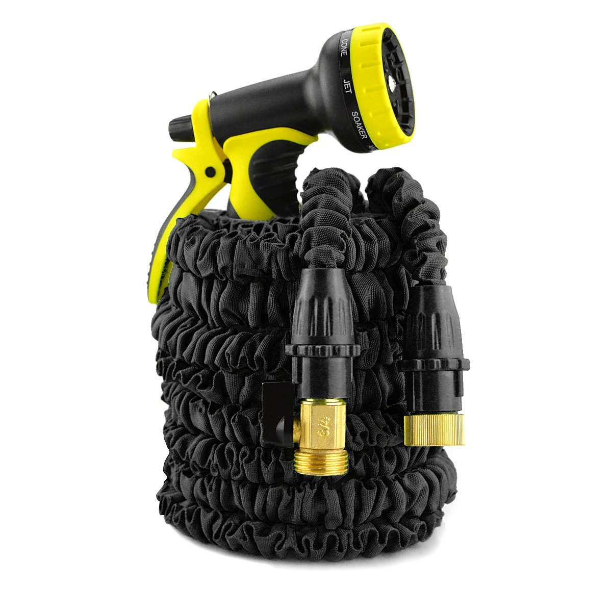 IBeaty Updated Lightweight 100ft Expandable Garden Hose Triple Layer Latex Core Magic Flexible Water Hose with 3/4Inch Solid Brass Ends and 9 Position Spray Nozzle Black