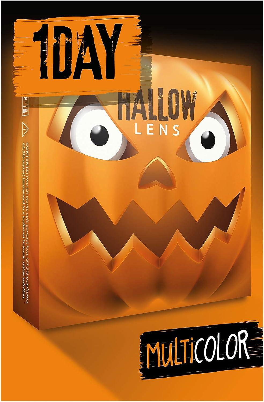 HALLOWLENS Lentes de contacto de Halloween de color, lentilla de motivo blanco, 1 par, un solo uso sin receta, disfrazarse como un ZOMBIE
