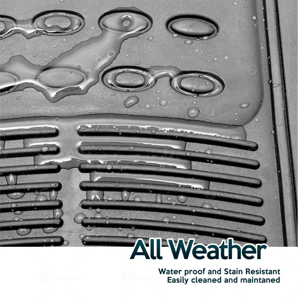 3-Piece Set Gray Heavy Duty Car Interior Floor Mats Zone Tech Floor Mats All Weather Rubber Semi Pattern Car Interior