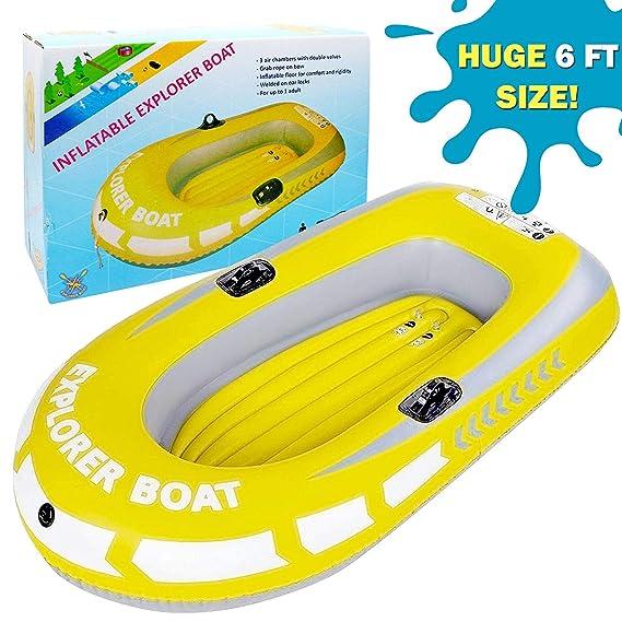 Barca Hinchable, Lancha Bote Inflable para Niños, Grande 188x114cm - Fácil de Inflar y Desinflar, Costuras Soldadas por Calor, PVC de Alta Resistencia ...