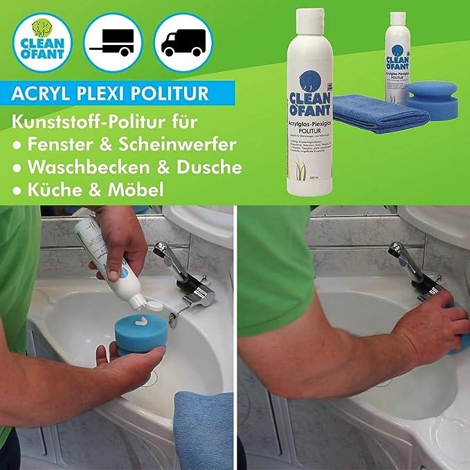 Cleanofant Acrylglas Plexiglas Politur Set Mit 200 Ml Politur 1 X Poliermaus Blau Medium 1 X Mikrofaser Poliertuch Für Wohnwagen Wohnmobil Caravan Fenster Lichtkuppeln Auto