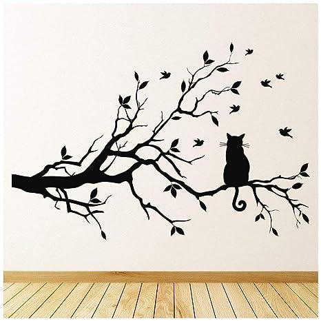 azutura Gato Negro Vinilos Rama de árbol Pegatina Decorativos Pared Sala de Estar Cocina Decoración del hogar Disponible en 5 tamaños y 25 Colores ...