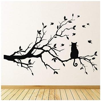 azutura Gato negro Vinilos Rama de árbol Pegatina Decorativos Pared Sala de estar Cocina Decoración del hogar disponible en 5 tamaños y 25 colores Grande ...