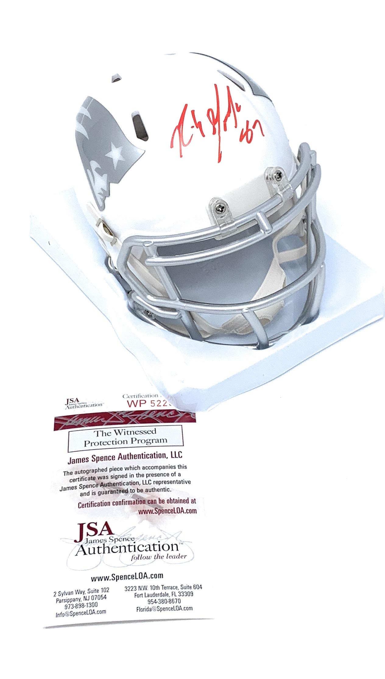 Rob Gronkowski New England Patriots Signed Autograph RARE ICE Speed Mini Helmet JSA Witnessed Certified
