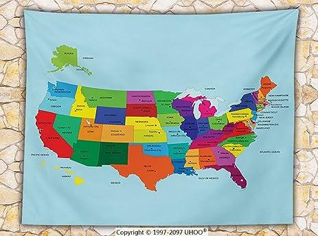 Amazoncom Kids Decor Fleece Throw Blanket Educational Map of