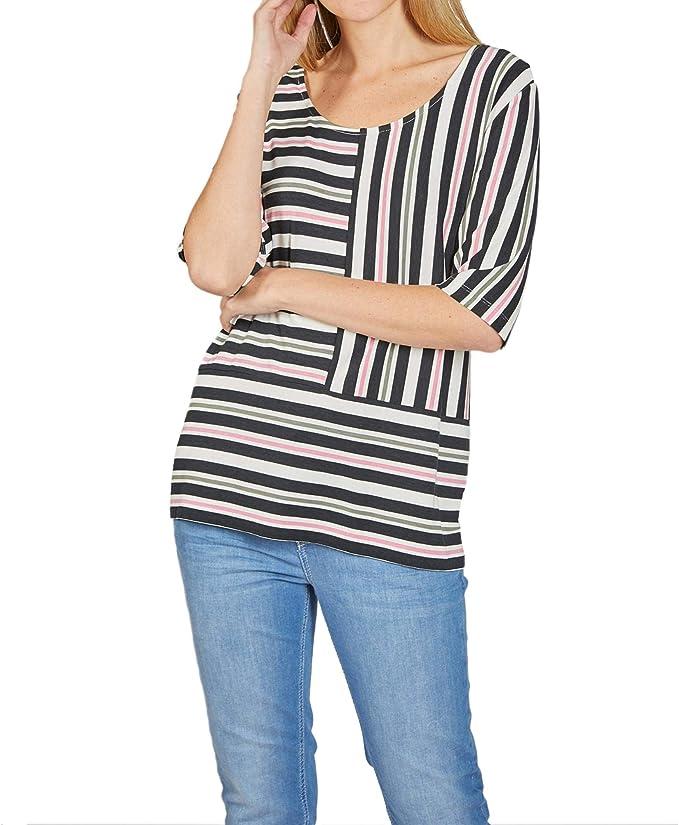 Dress In Shirt mit Streifen khaki halbarm Viskose gestreift Damen