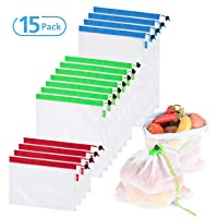 Reusable Mesh Produce Bags set of 15 pcs,3 sizes Eco-Friendly, Lightweight Washable and See Through -With Double Stitched Strength & Colorful Tare Weight