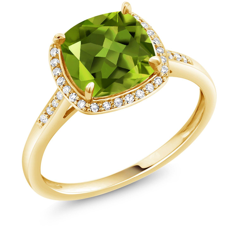Gem Stone King 2.45 Ct Cushion Green Peridot 10K Yellow Gold Ring (Size 6)