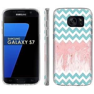 Samsung Galaxy [S7] Phone Case [ArmorXtreme] [Clear] Designer Image [Flexi Gel TPU] - [Chevron Pink Floral] for Samsung Galaxy S7 / GS7