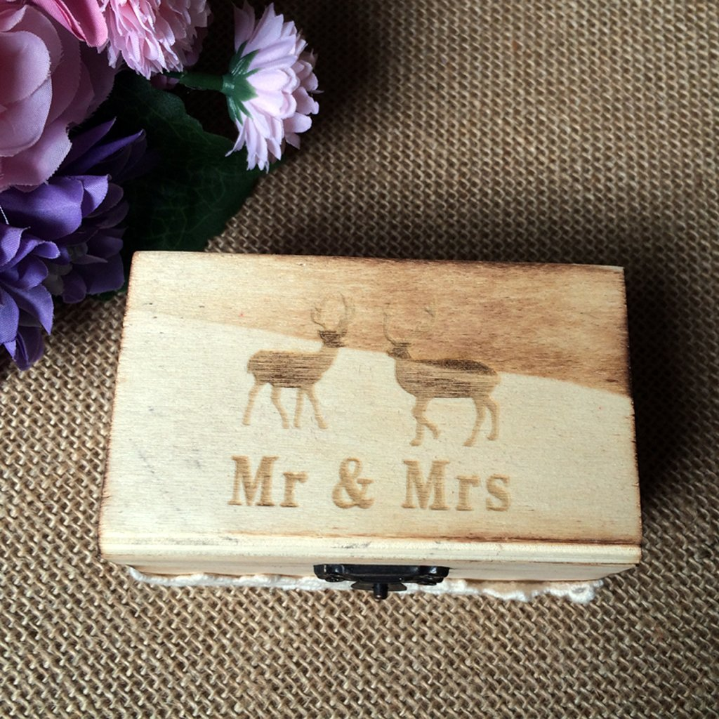 Jili Online Wedding Party Wooden Ring Bearer Box Ring Box Ring Pillow Box Lover Gift Box by Jili Online (Image #8)