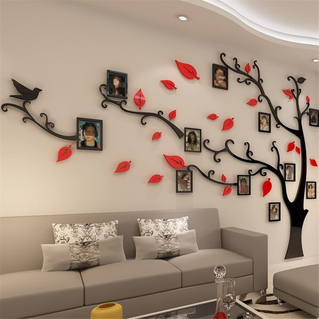 3D /Árbol Marco de Fotos DIY Etiqueta Murales Decoraci/ón para Sal/ón Pegatinas de Pared Dormitorio L: 175 * 230CM, Negro Derecha Oficina Habitaci/ón para Ni/ños