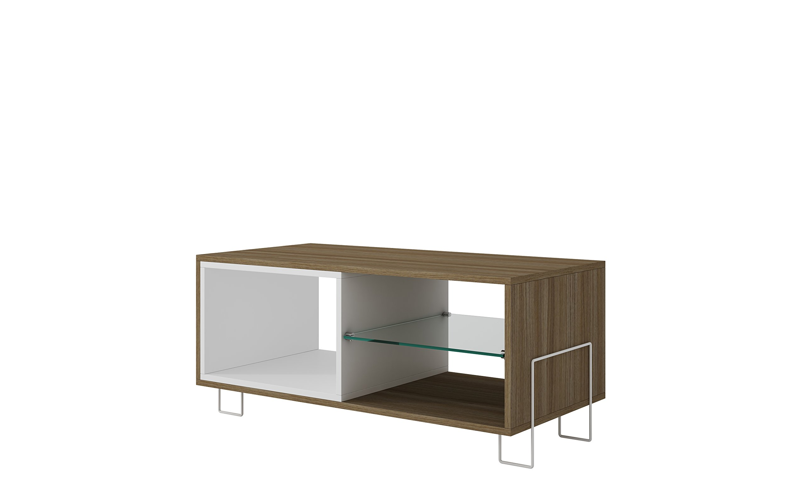 Manhattan Comfort Boden Collection Contemporary TV Stand With Tempered Glass Shelf, Cubby and Shelf, Wood/White