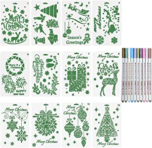 Petift Christmas Stencils Set of 12 and Metallic Marker Pen Set, Bullet Journal Stencil Template - Merry Christmas,Santa Claus,Christmas Tree,Snowflakes for Card DIY Drawing Painting Craft Projects