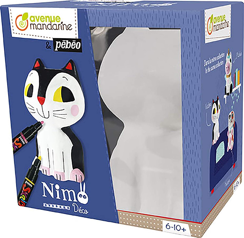 Une boite Nimo D/éco Victor le chat comprenant un chat en papier pulp/é blanc 12x8,5x20,5 cm Avenue Mandarine PP031C 3 cartes 14x14 cm et 4 feutres Skrib P/éb/éo