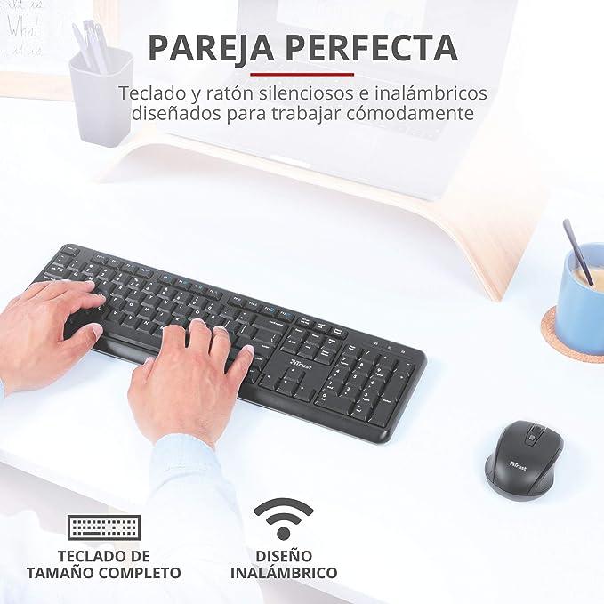 Trust Ymo Pack Teclado y Ratón Inalámbrico - Disposición QWERTY Español, Botones Silenciosos, 13 Teclas de Office y Multimedia, Un Receptor USB, ...
