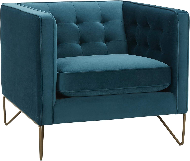 "Amazon Brand – Rivet Brooke Contemporary Mid-Century Modern Tufted Velvet Living Room Chair, 35""W, Teal"