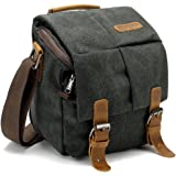 BLUBOON Vintage Canvas Camera Bag Shockproof Leather DSLR SLR Messenger Shoulder Bag Waterproof