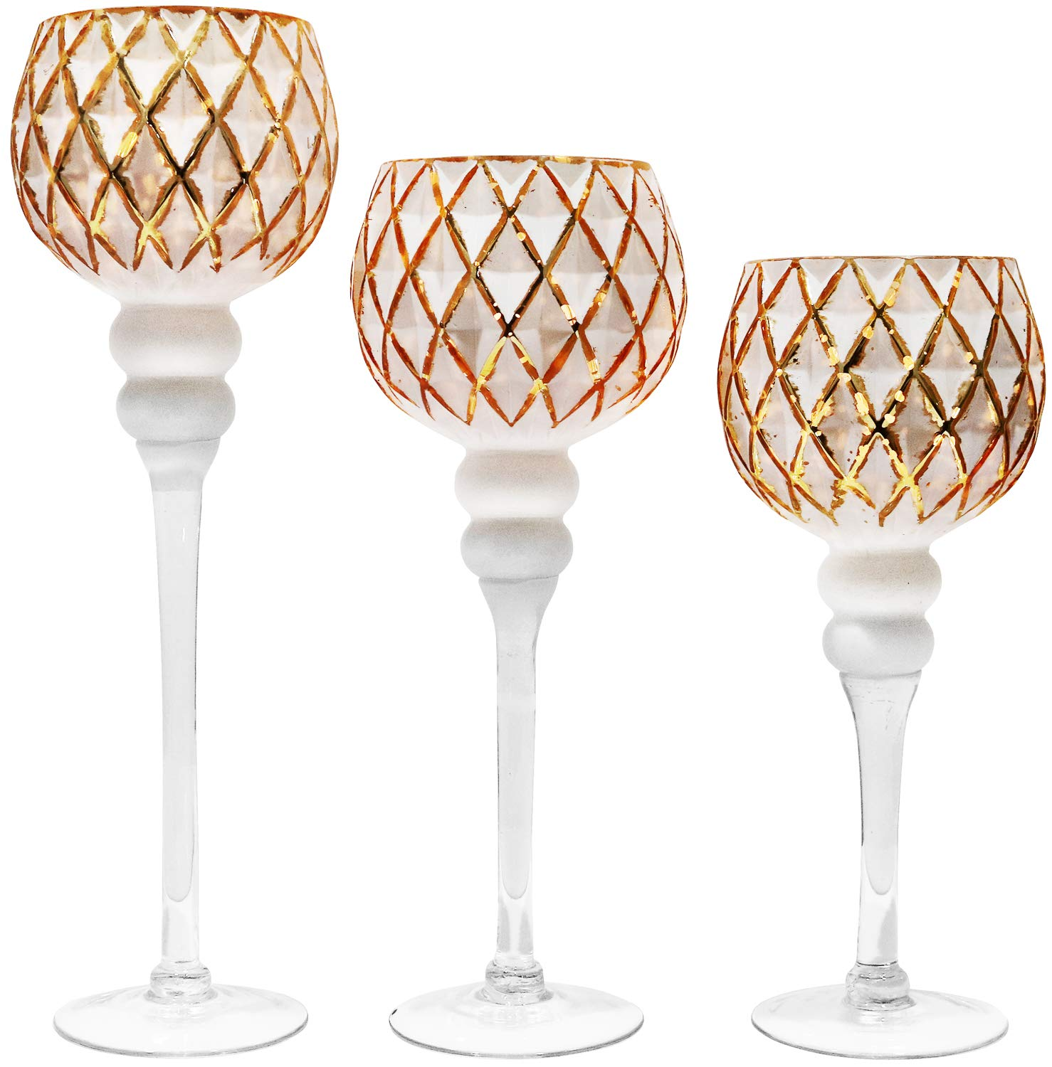 Galashield Votive Glass Candle Holders Set of 3 Tealight Hurricane Candle Stand Centerpieces for Wedding Table Gold/White (16'', 13.5'', 12'' High)