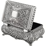 Feyarl Antique Trinket Box Rectangle Jewelry Box with Metallic Floral Engraved, Dividers Inside (S)