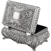Feyarl® Antique Metallic Floral Engraved Rectangle Trinket Jewelry Box with Dividers Inside