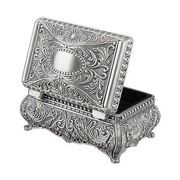 261967bcd206 feyarl antiguo metálico floral grabado rectangular Joyero joyas caja con  divisores interior  Amazon.es  Hogar