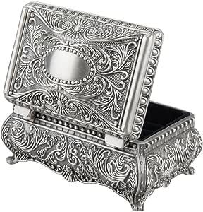 Feyarl Caja de joyería rectangular metálica grabada para pequeñas joyas, regalo (9,1 x 6,1 x 4,1 cm): Amazon.es: Bricolaje y herramientas