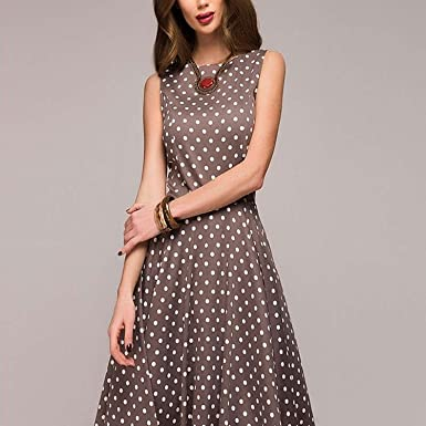 7d8ae491d6ea Image Unavailable. Image not available for. Color: Sallyealiy Polka Dot  Dress 2018 New Summer Women Sleeveless O-Neck Elegant Casual Boho Midi