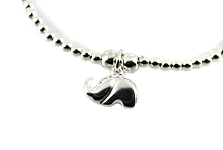 Sterling Silver Ball Bead Bracelet with Baby Feet Imprint Charm 3sev8jHiEt