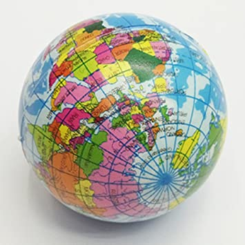 Amazon wintefei funny earth world map globe stress relief wintefei funny earth world map globe stress relief squeeze hand therapy bouncy ball toy gumiabroncs Choice Image