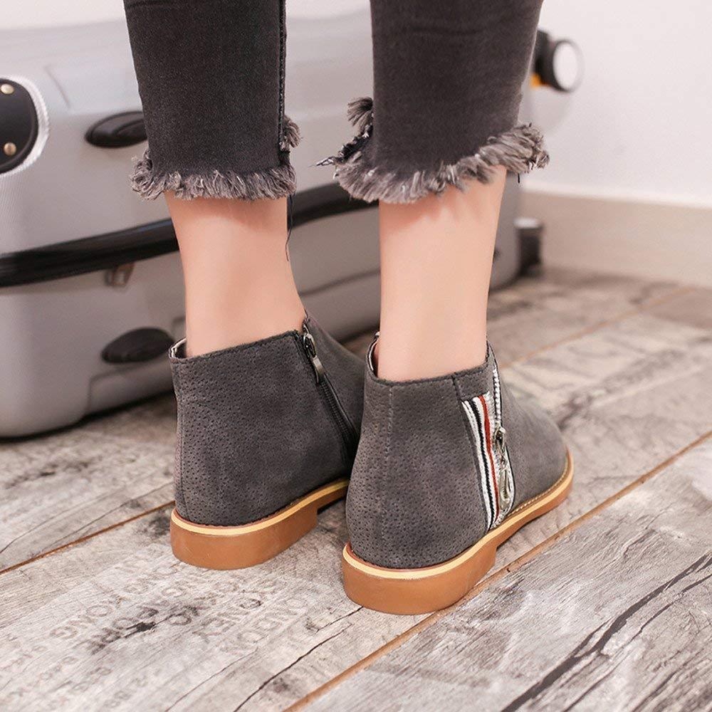 HhGold Schuhe Stiefel Damen Mode, Damenstiefel Vintage Ankle Ankle Ankle Stiefel aus Weichem Leder Flache Schuhe Bequeme Kurze Stiefel Outdoor Stiefel Kurzschaft (Farbe   Grau, Größe   CN 35=EU 36) 84f310